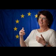 Catherine Bearder with EU Flag Background
