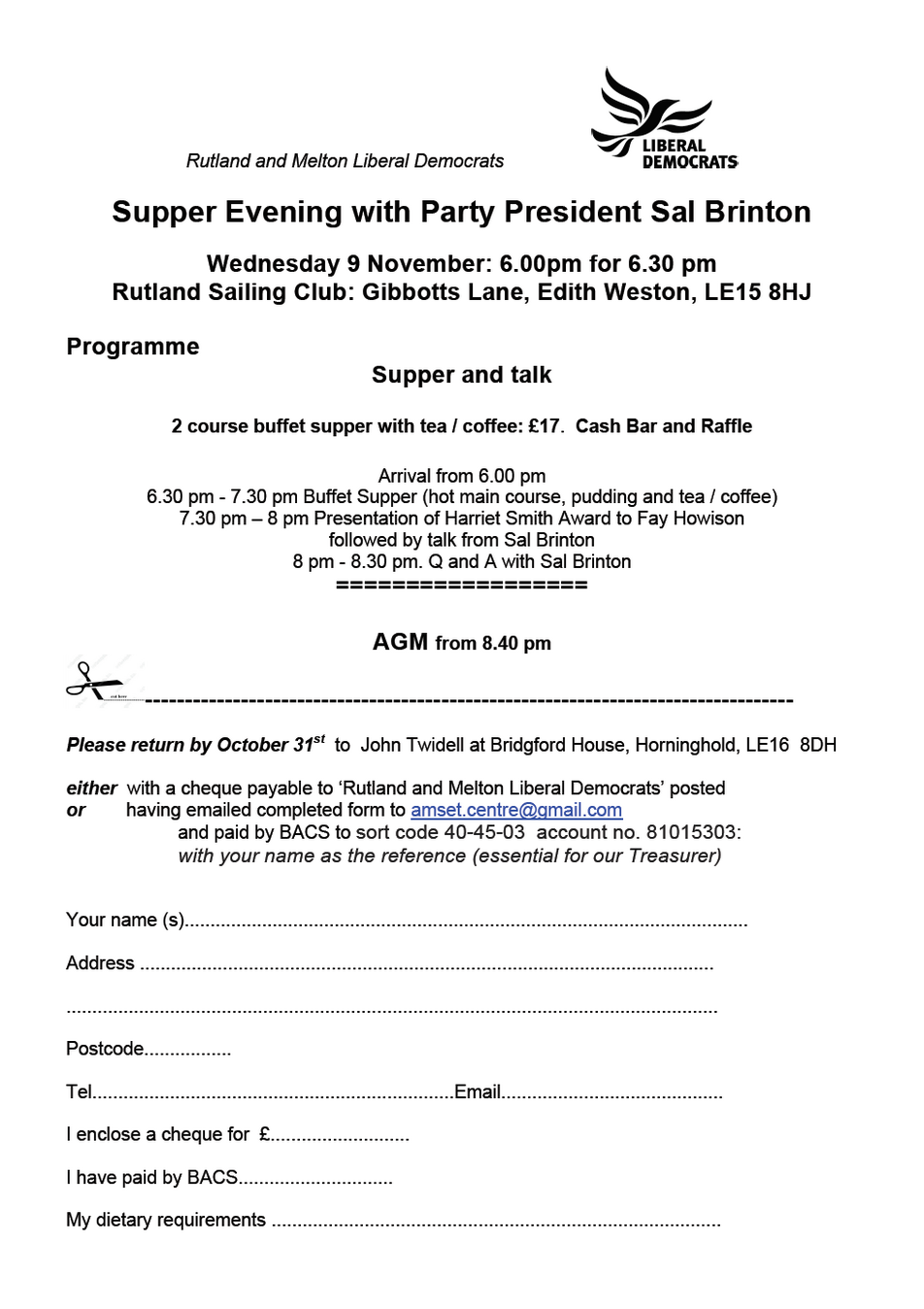 Rultand Sailing Club Supper with Sal Brinton - 9th November 2016