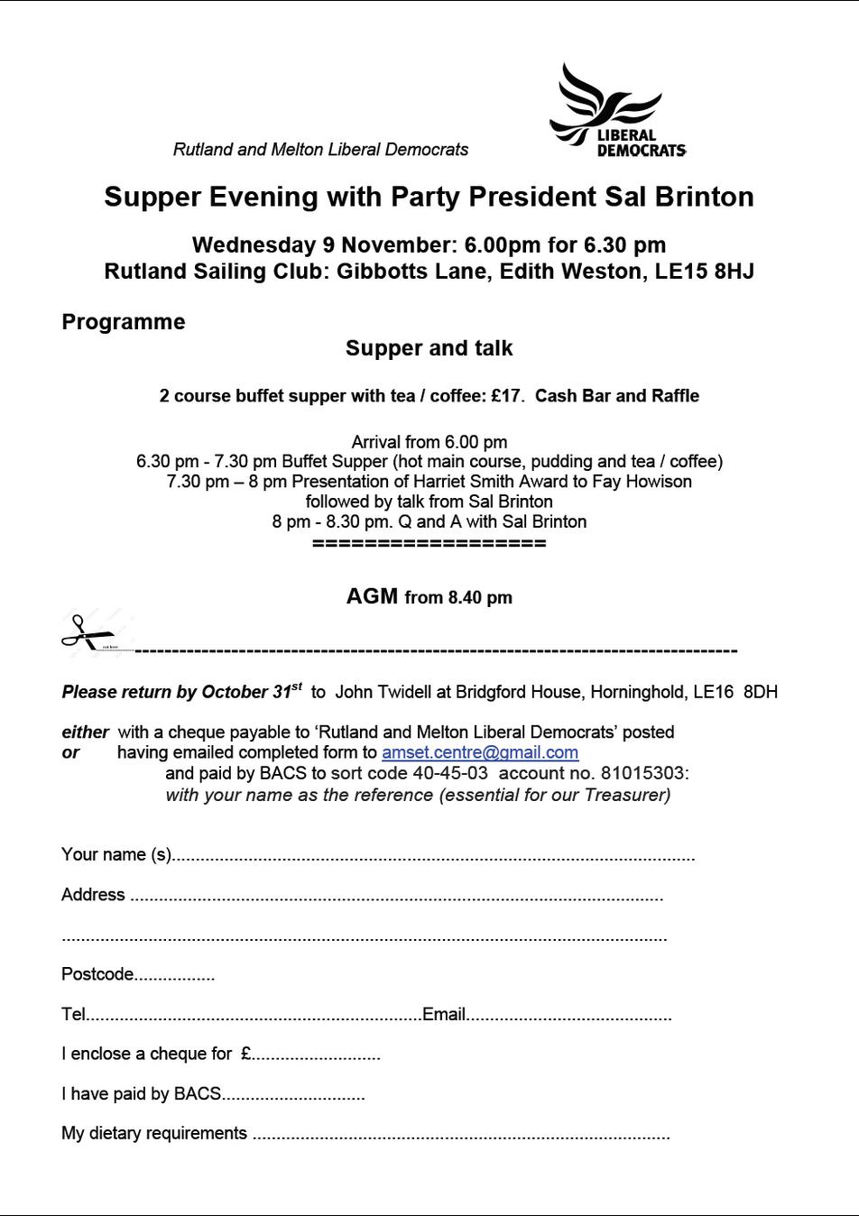 Rultand Sailing Club Supper with Sal Brinton - 9th November 2016