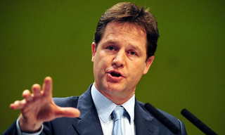 Nick Clegg has sought to slow down a fast and furious run of Tory policy suggestions, including plans to evict the families of rioters from council houses. Photograph: Rui Vieira/PA